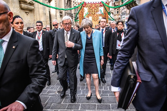 European Commission President Jean-Claude Juncker and British Prime Minister Theresa May in Valletta, Malta, on Feb. 3. The United Kingdom can enter formal negotiations to exit the European Union once the U.K.'s House of Lords passes a Brexit bill currently under review. (Leon Neal/Getty Images)