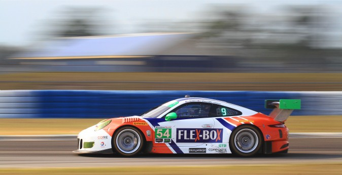 The #54 Core Autosport Porsche 911 GT3 R was quickest in GT Daytona in both morning sessions. (Chris Jasurek/Epoch Times)
