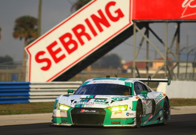The #29 Montaplast-by-Land Audi R8 LMS GT3 was second quickest in both Friday sessions. (Chris Jasurek/Epoch Times)