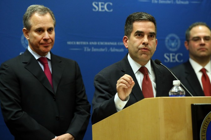 U.S. Securities and Exchange Commission (SEC) Enforcement Director Andrew Ceresney announcing a settlement with Barclays and Credit Suisse on federal and state charges in New York Feb. 27.  (Spencer Platt/Getty Images)