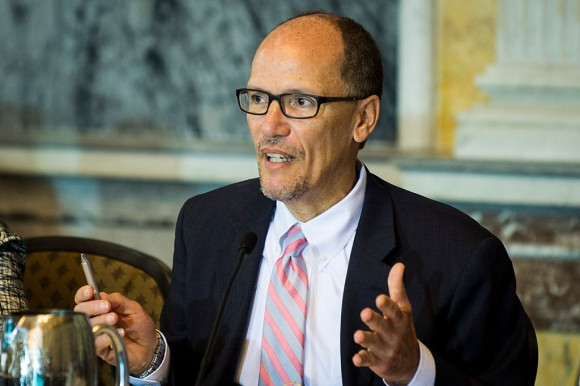 Department of Labor Secretary Thomas Perez delivers remarks during a public meeting of the Financial Literacy and Education Commission at the United States Treasury  in Washington on June 29, 2016. The agenda focused on financial education and investment advice, as well as the intersection of financial education and legal aid. (Pete Marovich/Getty Images)