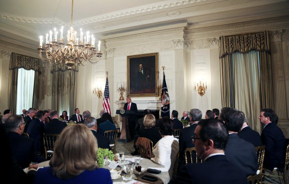 President Donald Trump speaks at  the National Governors Association meeting in the State Dining Room of the White House Washington on Feb. 27, 2017. (Aude Guerrucci-Pool/Getty Images)