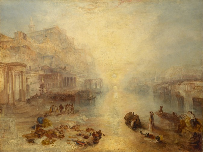 """Ancient Italy—Ovid Banished from Rome,"" exhibited 1838, J.M.W. Turner. Oil on canvas 37 1/4 inches by 49 3/16 inches, Private collection (The Metropolitan Museum of Art, Image source: Art Resource, NY)"