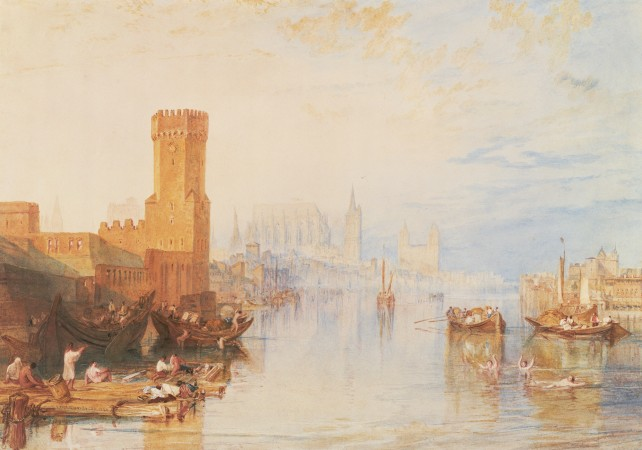 """Cologne from the River,"" 1820, J.M.W. Turner.  Watercolor on paper, 12 1/8 inches by 18 1/4 inches, Seattle Art Museum; gift of Mr. and Mrs. Louis Brechemin. (Paul Macapia)"
