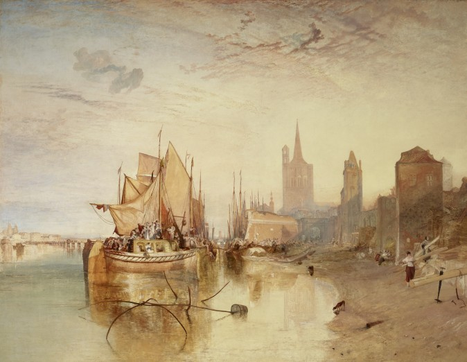 """Cologne, the Arrival of a Packet-Boat: Evening,"" exhibited 1826, by J.M.W. Turner. Oil on canvas 66 3/8 inches by 88 1/4 inches, The Frick Collection. (Michael Bodycomb)"