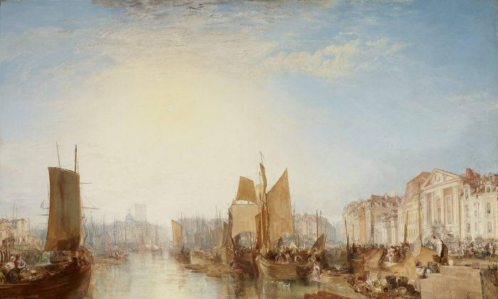 """""""Harbor of Dieppe: Changement de Domicile,"""" exhibited 1825, but subsequently dated 1826, by J.M.W. Turner. Oil on canvas, 68 3/8 inches by 88 3/4 inches, The Frick Collection (Michael Bodycomb)"""
