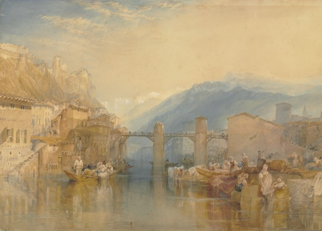 """Grenoble Bridge,"" circa 1824, by J.M.W. Turner. Watercolor and gouache, 20 7/8 inches by 28 1/4 inches, The Baltimore Museum of Art; purchase with exchange funds from Nelson and Juanita Greif Gutman Collection. (Mitro Hood)"
