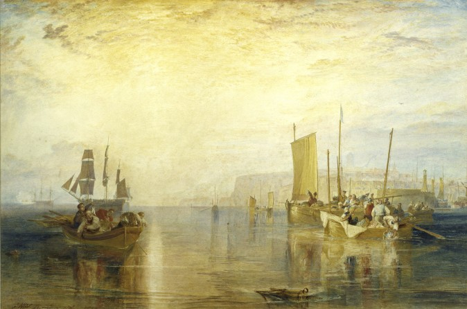 """Sun-Rise: Whiting Fishing at Margate, for Marine Views,"" 1822, by J.M.W. Turner. Watercolor on paper, 16 3/4 inches by 25 1/2 inches, Private collection. (Courtesy of The Frick Collection)"