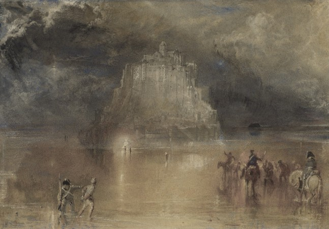 """Mont Saint-Michel, Normandy, for the English Channel,"" circa 1827, by J.M.W. Turner.  Watercolor on paper, 7 inches by 10 1/16 inches, The Hecksher Family Collection. (Courtesy of Fine Arts Museums of San Francisco/Randy Dodson)"