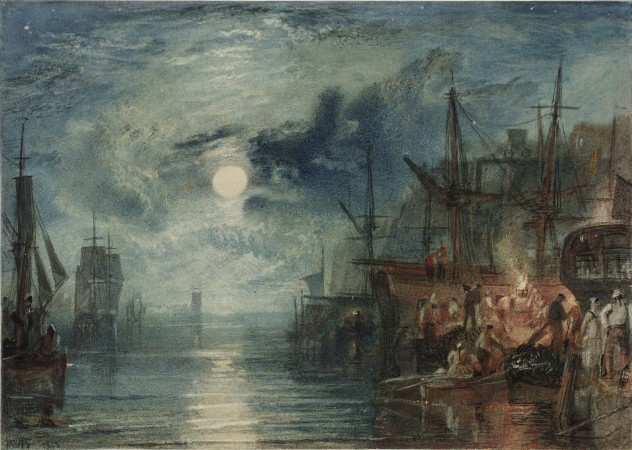 """Shields, on the River Tyne, for the Rivers of England,"" 1823, by J.M.W. Turner. Watercolor on paper, 6 1/16 inches by 8 1/2 inches, Tate; accepted by the nation as part of the Turner Bequest 1856. (Tate, London)"