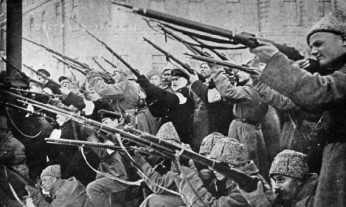 Rebels in St. Petersburg firing on Imperial Russian police in the first days of the February Revolution. (Public Domain)
