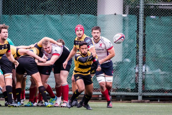 Tigers scrum half sets up an attack in the Grand Championship quarter final match against HK Scottish at The Rock, on Saturday Feb 26. (Dan Marchant)