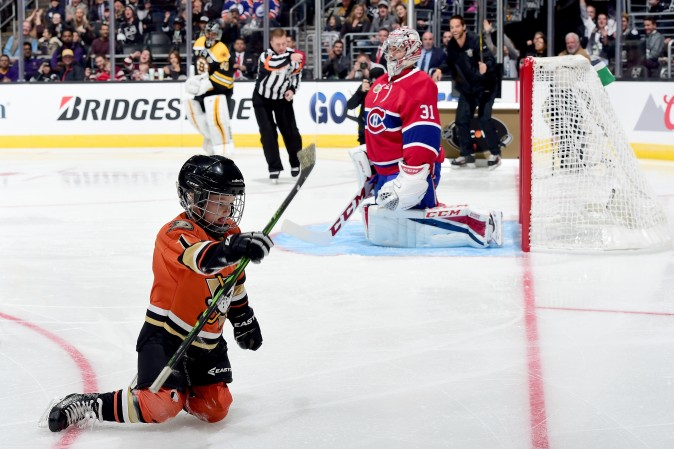Ryker Kesler, son of Ryan Kesler of the Anaheim Ducks, reacts after scoring a goal in the Discover NHL Shootout in Los Angeles. (Harry How/Getty Images)
