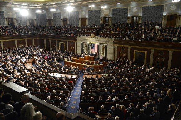 General view of the House of Representatives as President Donald J. Trump delivers his address to a joint session of Congress, at the U.S. Capitol, in Washington on Feb. 28, 2017. Trump, in his first address to Congress, laid out his agenda on issues like immigration, the economy, foreign affairs and health care. (MIKE THEILER/AFP/Getty Images)