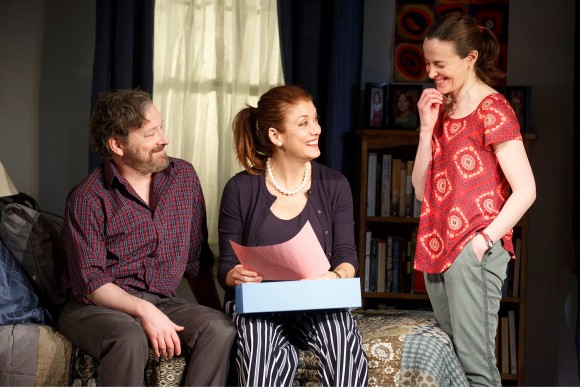 (L–R) Michael (Jeremy Shamos), Holly (Kate Walsh), and Sharon (Maria Dizzia) are siblings who will deal with how to care for their father. (Joan Marcus)