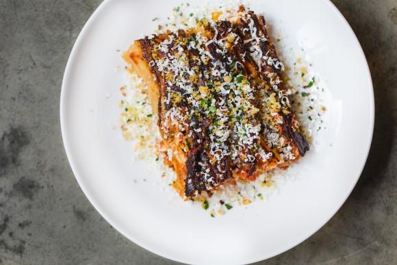 Lasagna with smoked duck ragu, béchamel,