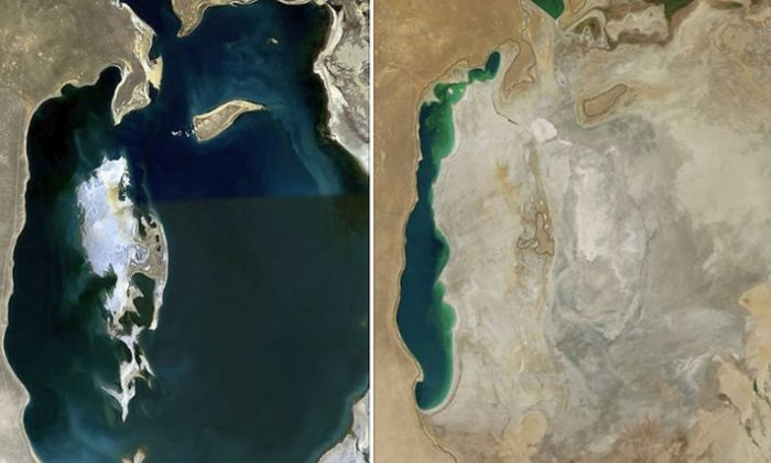 A comparison of the Aral Sea in 1989 (left) and 2014 (right) (Credit: NASA)