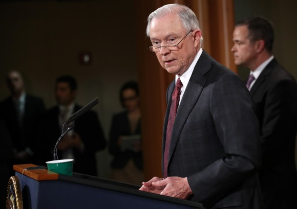 Attorney General Jeff Sessions speaks during a press conference at  the Department of Justice in Washington on March 2, 2017. (Win McNamee/Getty Images)
