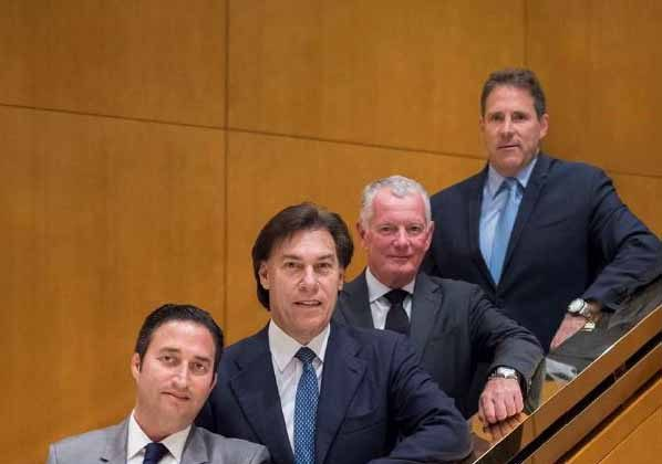Celebrating the strategic partnership of Toronto's recently-rebranded Milborne Group and Miami-based Pordes Residential are (l-r) South Florida developers Manuel Grosskopf, President, Château Group; Edgardo Defortuna, President, Fortune International Group; Hunter Milborne, CEO, Milborne Group and Mark Pordes, President Pordes Residential. The brokerage firms are representing two luxury Greater Miami area properties, FENDI CHÂTEAU Residences and The Ritz-Carlton Residences, Sunny Isles Beach, Miami.  (Arthur Mola)