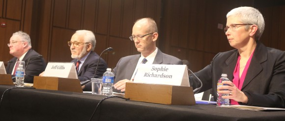 Panel of China observers testify before the Congressional-Executive Commission on March 1. (L to R) Michael R. Wessel, commissioner, U.S.-China Economic and Security Review Commission; James Mann, author,