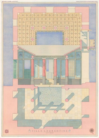 """Villa Laurentine,"" by Michael G. Imber Architects. Watercolor, 28 inches by 21 inches. (Courtesy of Eleventh Street Arts)"