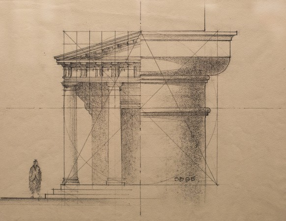 """Portico/Capital,"" by Steve Bass. Pencil on paper, 9 inches by 12 inches exhibited at ""Art of Architecture"" at Eleventh Street Arts gallery in Queens, New York, on March 2, 2017. (Samira Bouaou/Epoch Times)"