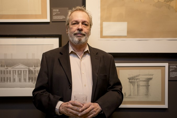 Steve Bass, Institute of Classical Architecture and Art fellow at the Art of Architecture exhibit at Eleventh Street Arts gallery in Queens, New York, on March 2, 2017. (Samira Bouaou/Epoch Times)