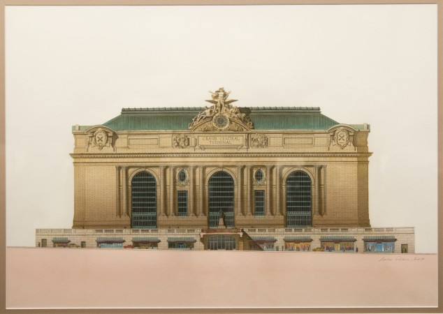 """Grand Central Terminal"" by Anton Glikin of Peter Pennoyer Architects at the ""Art of Architecture"" exhibit at Eleventh Street Arts gallery in Queens, New York, on March 2, 2017. (Samira Bouaou/Epoch Times)"