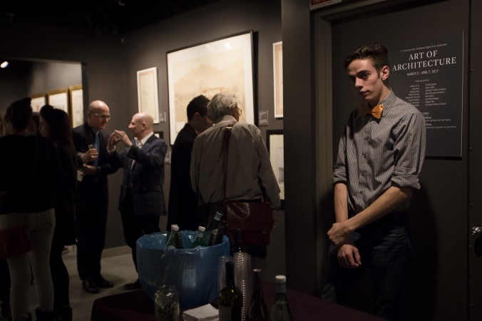 "People at the ""Art of Architecture"" exhibit at Eleventh Street Arts gallery in Queens, New York, on March 2, 2017. (Samira Bouaou/Epoch Times)"