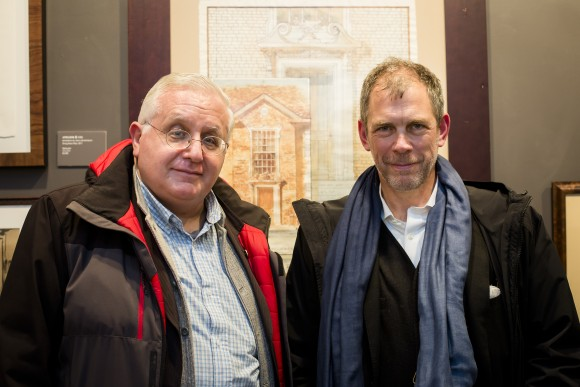 "Michael Djordjevitch (L) and Richard Cameron of Atelier & Co. at the ""Art of Architecture"" exhibit at Eleventh Street Arts gallery in Queens, New York, on March 2, 2017. (Samira Bouaou/Epoch Times)"