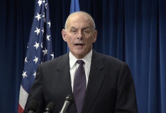 Homeland Security Secretary John Kelly makes a statement on issues related to visas and travel at the U.S. Customs and Border Protection office in Washington on March 6, 2017. (AP Photo/Susan Walsh)