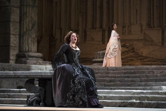 "Elza van den Heever as Elettra and Nadine Sierra as Ilia in Mozart's ""Idomeneo."" (Marty Sohl/Metropolitan Opera)"