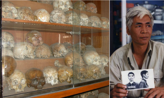 Cabinets filled with human skulls, disinterred from the grounds of the Tuol Sleng prison (Public Domain); Right - Vann Nath (Vannnath.com)
