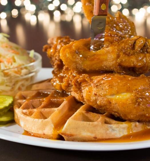The Chicken N Waffle sandwich. (Courtesy of Dallas BBQ)