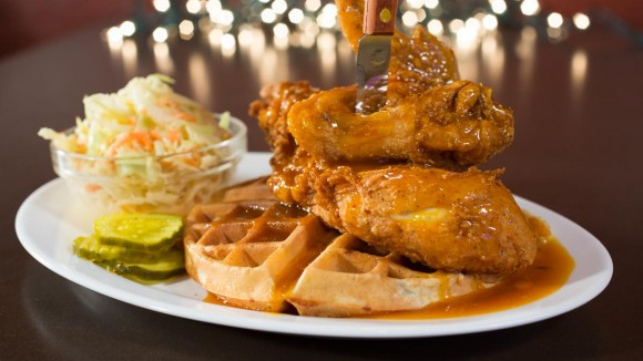 The Chicken and Waffles sandwich. (Courtesy of Dallas BBQ)