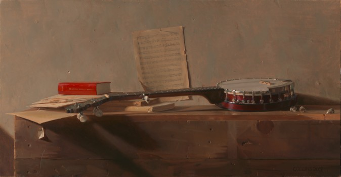 """""""Banjo,"""" 2012, by Jacob Collins. Oil on Canvas, 26 inches by 50 inches. (Courtesy of Jacob Collins)"""