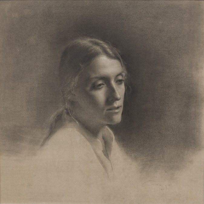 """""""Reverie,"""" 2016 by Amaya Gurpide. Graphite, white chalk, black conte, gauche on hand toned paper, 17 inches by 17 inches. (Courtesy of Amaya Gurpiede)"""