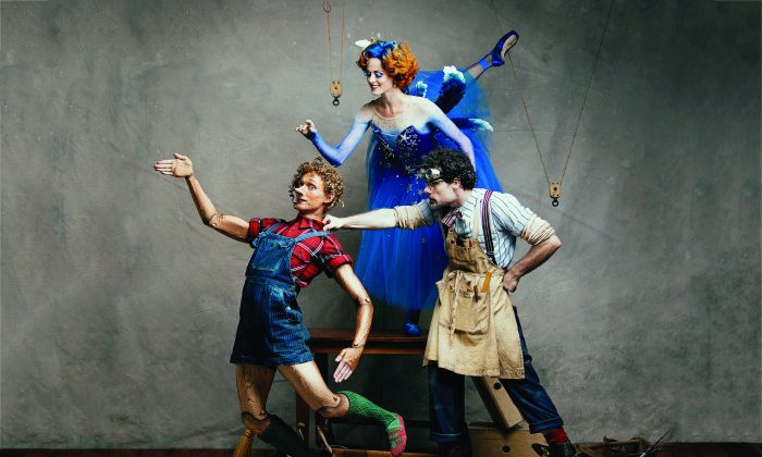 """Skylar Campbell, Heather Ogden, and Piotr Stanczyk in the National Ballet of Canada's production of """"Pinocchio"""" (Karolina Kuras)"""