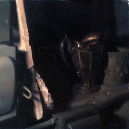 """Rinthy's Pitcher,"" by Edmond Rochat. Oil on canvas, 17 inches by 17 inches. displayed at the Consecrated Reality art exhibit at The Florence Academy of Art–U.S., in Jersey City, NJ, on May 1, 2016. (Courtesy of Edmond Rochat)"