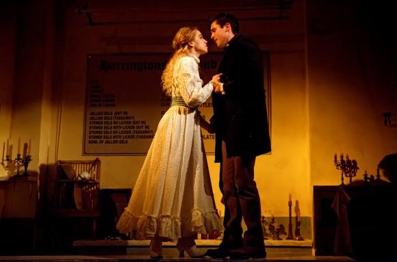 Johanna (Alex Finke) and named Anthony Hope (Matt Doyle) represent innocence amid the corruption of old London. (Joan Marcus)