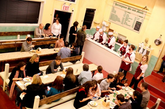 Harrington's Pie and Mash Shop, as recreated inside Barrow Street Theatre for the production of