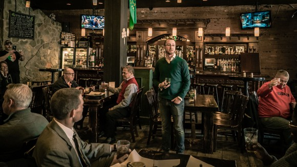 Tim Herlily, during his 30-day, 50-state tour of Irish pubs in the U.S. (Courtesy of Tullamore D.E.W.)