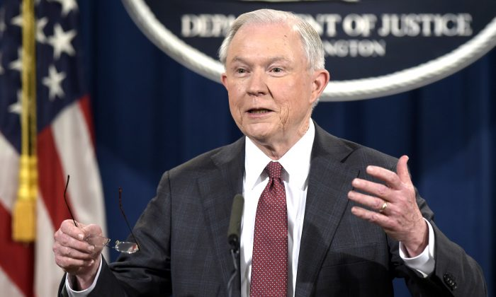 Attorney General Jeff Sessions speaks during a news conference at the Justice Department in Washington on March 2, 2017. (AP Photo/Susan Walsh)