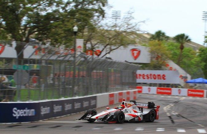 Sebastien Bourdais navigates Turn Eight shortly after taking the lead of the St. Pete Grand Prix. (Chris Jasurek/Epoch Times)