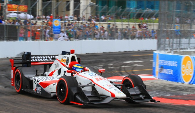 Sebastien Bourdais rounds Turn Ten in the closing laps of the St. Pete Grand Prix. (Chris Jasurek/Epoch Times)