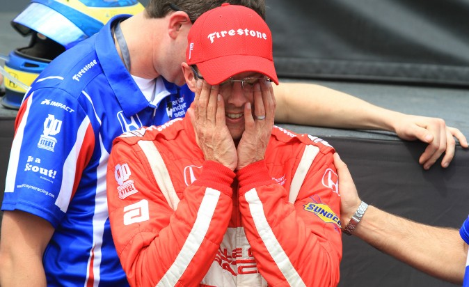 Sebastien Bourdais wipes away tears before the podium ceremony for his victory in the 2017 St. Pete Grand Prix. (Chris Jasurek/Epoch Times)
