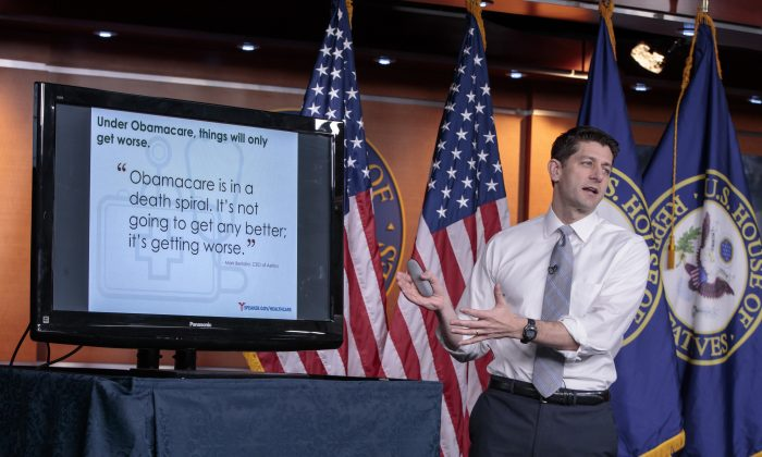House Speaker Paul Ryan  (R-Wis.) uses charts and graphs to make his case for the GOP's long-awaited plan to repeal and replace the Affordable Care Act during a news conference on Capitol Hill in Washington on March 9, 2017. (AP Photo/J. Scott Applewhite)