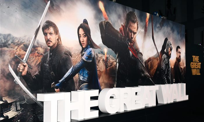 """Movie posters on display at the premiere of Universal Pictures' """"The Great Wall"""" at TCL Chinese Theatre IMAX in Hollywood, Calif. on Feb. 15.  (Photo by Frazer Harrison/Getty Images)"""