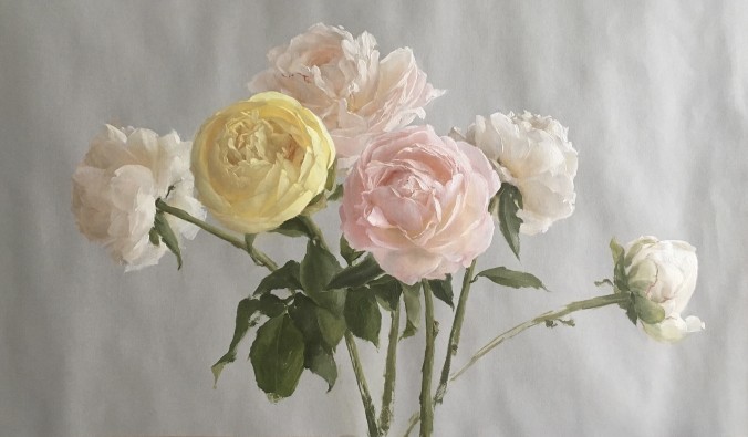 """A Study of Peonies,"" 2016, by Katie G. Whipple. Oil on prepared paper, 11 inches by 20 inches. (Courtesy of Katie G. Whipple)"