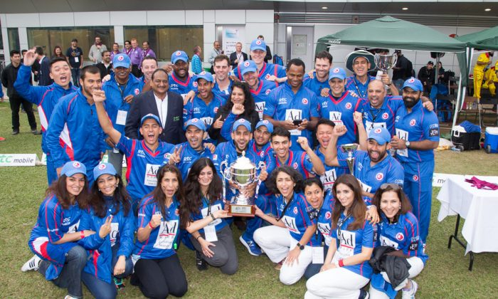Kowloon Cantons celebrate winning the T20Bliz cricket in Hong Kong on Sunday March 12, 2017. (Dan Marchant)